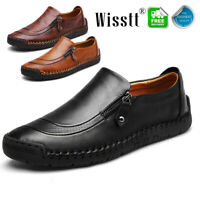 Fashion Men's Leather Casual Zipper Shoes Hand Stitching Breathable Loafers Size