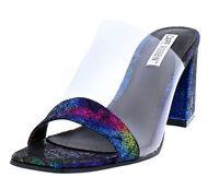Multi Clear Strap Open Toe Chunky Heel Slip On Mule Shoes, US 11
