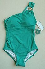MICHAEL Kors One-Shoulder Asymmetrical One-Piece Swimsuit Solid Green Sz 8 NWT