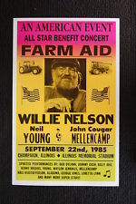 Farm Aid Poster 1985 Willie Nelson Neil Young John Coug