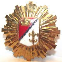 Vintage French Crown Fleur De Lis Shield Enamel Gold Brooch Pin royal red white
