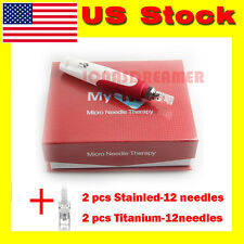 Electric Derma Pen Microneedle Therapy Anti-aging MyM Pen 2xTitanium Cartridges