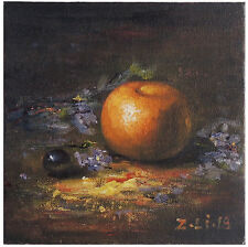"Original Oil Painting Still Life Realism Orange Fruit 6 x 6"" Signed By Z.Li"