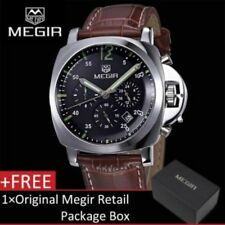 Megir Mens Chronograph Quartz Watch With Leather Strap FAST POST