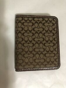 Coach Vintage ID Holder in Signature Canvas Leather Trimming