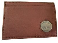 American Bison Leather, Buffalo Nickel Magnectic Money Clip Wallet, Brown