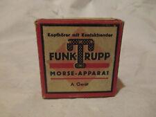 TRIX um 1940, Kinder Morseapparat, Kopfhörer, A Gerät, D.R.G:M., OVP komplett