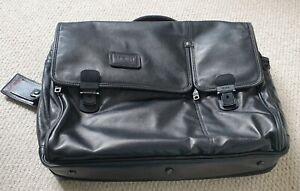 Tumi Expandable Black Nappa Leather Brief Case Overnight Messenger Bag