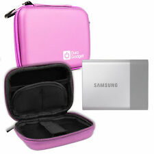 Pink Hard EVA Case with Carabiner Clip & Zips for Samsung Portable SSD T3 HDD