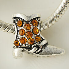 White Silver Filled Orange CZ Womens Fashion Shoe Beads Pendant Jewelry