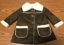 Old Navy Toddler Baby Girl Brown Faux Sheepskin Suede Coat Jacket SZ 6-12  A119