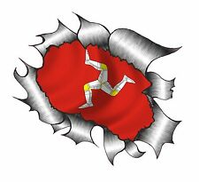 CLASSIC Ripped Open Torn Metal Rip & Isle Of Man Mann Manx TT Flag Car sticker