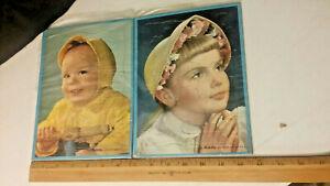 Vintage 510 Built Rite framed puzzle lot of 2 Praying Girl & Toddler on rider