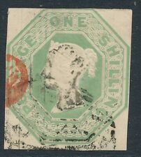 SG 54 1/- Pale Green fine used numeral & part red PD. 4 very close to good margi