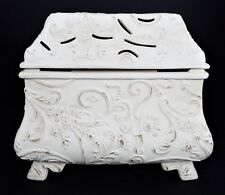 Ivory Distressed Floral Ceramic Lg Lamp Fragrance Oil Warmer Burner Wick
