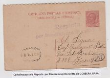 STORIA POSTALE 1917 REGNO CARTOLINA C.10 RISPOSTA DA GOBBERA Z/6325