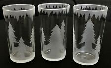 New listing Vintage Kitchen Holiday Glass Tumbler Tree Icicle Hand Etch Christmas Winter x3