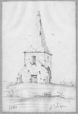 LÉON BERVILLE DESSIN ORIGINAL 1861 SAINT-LÉGER Chapelle Église Ruines