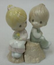 Precious Moments Boy and Girl on Tree Stump Go-With Salt and Pepper Shaker Set