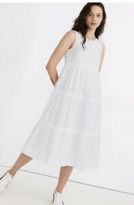 Madewell  Cattail Tiered Dress SZ Small White Sleeveless A Line Midi  A0320