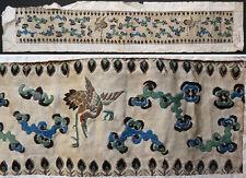 Tissu Soie brodée broderie Chine Japon 19e siècle Grue héron