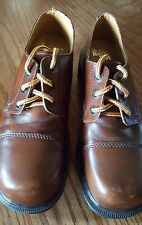 DR MARTENS 3 EYE BOOTS Shoes sz 6 Made England BROWN LEATHER 8309