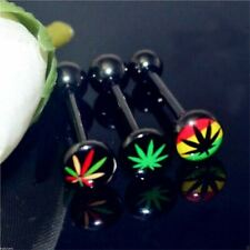 Tongue Bar Anodized Surgical Steel Black Pot Cannabis Leaf Logo Barbell 14g 16mm