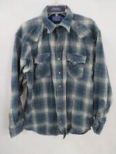 Pendleton Men's L Long Blue Plaid Western Snap Button Front Wool Shirt (As Is)