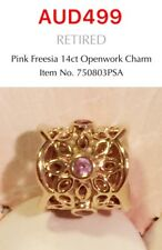 Pandora Retired 14k Gold Freesia Charm With Pink Sapphires, 750803PSA