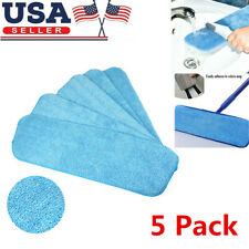 "5 Pack Microfiber Mop Pads Head Wet Dry Mops Refill for 15"" Flat Mop Base Blue"