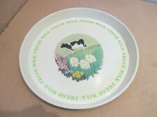 NATIONAL DAIRY COUNCIL FRESH MILK TEA TRAY ( WITH A PICTURE OF A COW & FLOWERS )