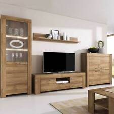 LIVING ROOM SET RIVIERA OAK DISPLAY UNIT LED FLOATING MODERN STORAGE SIDEBOARD