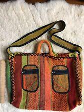 Woven Natural  fiber handbag, tote, shoulder bag, boho beach Zippered Colorful