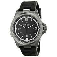NWT Victorinox Swiss Army 241596 Night Vision GMT Black Dial Rubber  Mens Watch