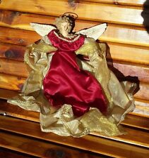 Vintage Christmas Tree Topper Angel - Beautiful Gown - Scarlet Red White Colors