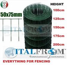25mt galvanized green PVC welded wire mesh rolls-mesh 5x7.5cm for fencing
