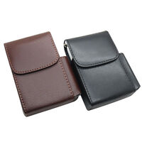 PU Leather Pocket Tobacco Cigarette Smoke Holder Storage Case Box With Lighter