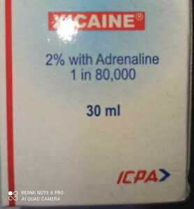 xicaine LIGNOCAINE HYDROCHLORIDE 2% WITH ADRENALINE 1 : 80000 DENTAL USE