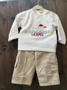 NEW Two Piece Baby Boys Outfit Top & Chino Style Trousers Age 9-12 Months T2