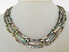 Rare Vintage Mexican Handcrafted Art Deco Abalone Sterling Silver Necklace #N38