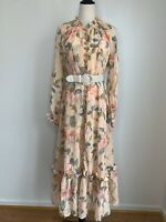 ZIMMERMANN   Size 0 (6-8AU)   BNWOT Floral Maxi Cotton & Silk Dress with Belt