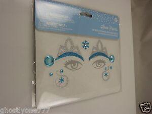 Face tattoos body art skin Halloween Snow princess blue silver bling
