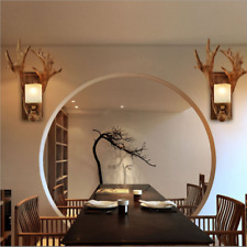 Retro Resin Antlers Wall Lights Sconce Hotel Bar Aisle Balcony Bedroom Wall Lamp