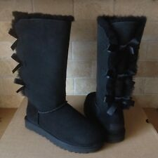 UGG TRIPLE TRIPLET BAILEY BOW II BLACK WATER-RESISTANT TALL BOOTS SIZE 11 WOMENS