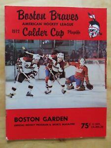 BOSTON BRAVES vs PROVIDENCE REDS April 4,1972 PLAYOFFS Program TERRY O'REILLY