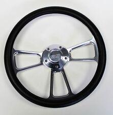 "1964-66 Chevy II 2 Nova Impala Black Billet Steering Wheel 14"" SS Center Cap"