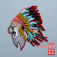 Native American Indian Cat Chief Retro Embroidery  Applique Iron-on Patch BIG XL