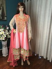 "46"" XXL Net Designer Salwar Kameez Bollywood Indian Dress Peach White Cream A26"