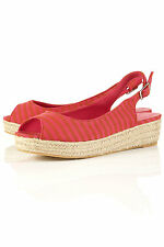 TOPSHOP HARI stripe espadrille wedges UK 4 in Pink - New