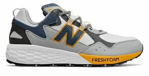 New Balance Men's Fresh Foam Crag v2 Trail Shoes White with Grey & Yellow